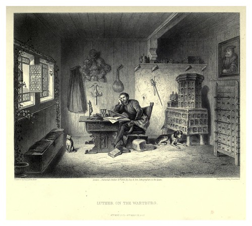 009-Lutero en el castillo de Wartburg-Illustrations of the life of Martin Luther 1862- Pierre Antoine Labouchère
