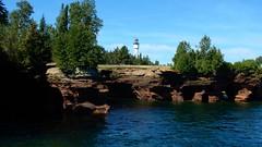 Devil's Island Lighthouse and the Sea Caves (Haikiba) Tags: apostleislandsnationallakeshore wisconsin lakesuperior lighthouse devilsislandlighthouse