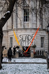 Slade School of Fine Art Occupation banner. (Stationary Nomads) Tags: school snow money london students buildings campus student education university union central parliament ucl solidarity pay future government uni democrats liberal cuts conservatives fees tuition slade occupation jbr libdems universitycollegelondon bankers occupy condem sladeschooloffinearts amenaamer