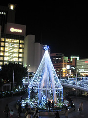 Christmas tree in front of JR Sannomiya Station