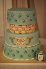 Teal and Ivory Wedding cake (Andrea's SweetCakes) Tags: gold buttons teal weddingcake ivory pearls brass