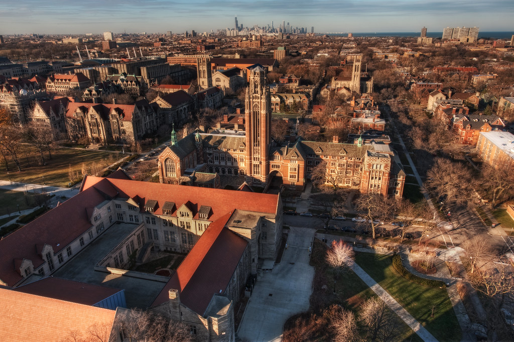 A northerly view of the University of Chicago campus