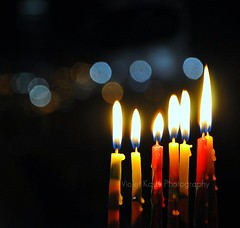 Light up the darkness (Violet Kashi) Tags: light colors night dark candles bokeh flame wax hanukkah hbw