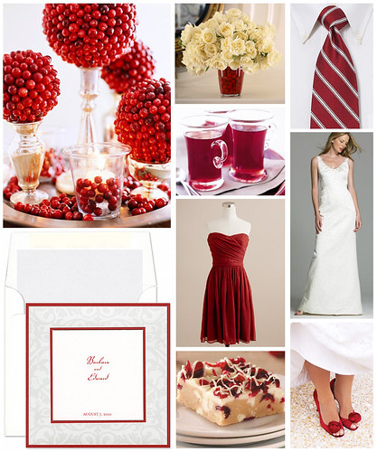 Winter White and Cranberry Wedding