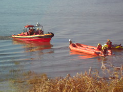 Merseyside Fire Service Marine Rescue Craft (Aigburth L17) Tags: liverpool john river fire airport marine sailing exercise crash aircraft helicopter lifeboat raft lennon mersey lsc watersport merseyside rya johnlennonairport liverpoolsailingclub