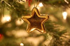 Christmas Star (DaveJC90) Tags: christmas xmas winter light red macro tree closeup silver season gold star shiny bright bell christmastree present shape bauble