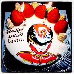 実家に行ったら甥っ子2号の誕生日ケーキがありました