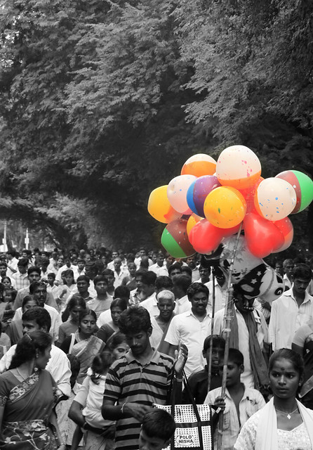 standout unique prominent crowd people color colors balloon balloons thiruvannamalai tamilnadu india colorful colour colours distinct orange green yellow red blue white monochrome