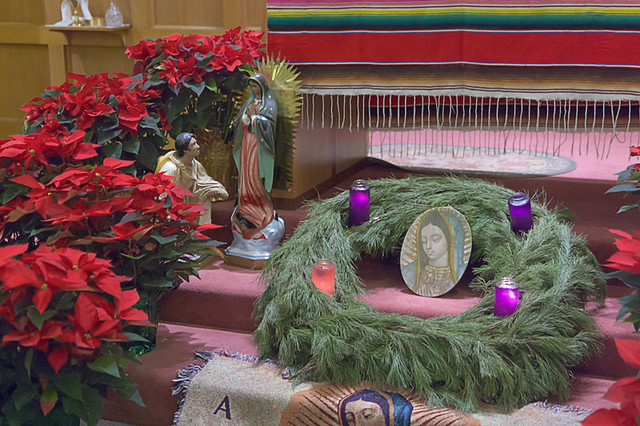 Our Lady of Guadalupe Roman Catholic Church, in Ferguson, Missouri, USA - altar decorations with poinsettia and Advent wreath