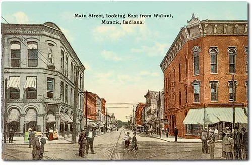 Main street looking east from Walnut, Muncie, Indiana