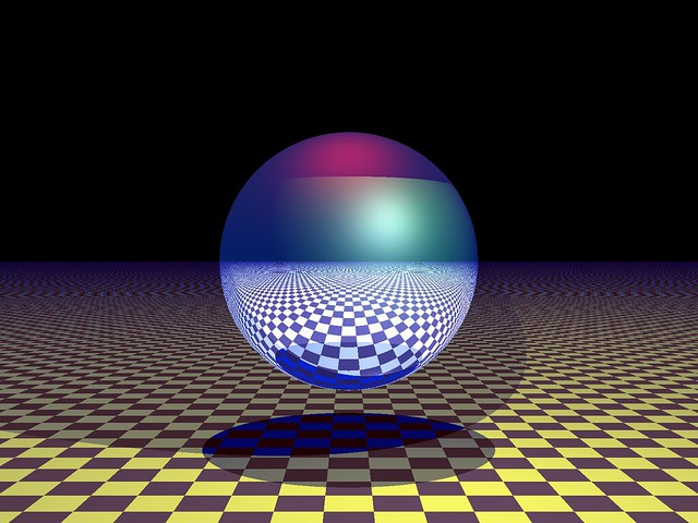 Reflective sphere on checkerboard part 2
