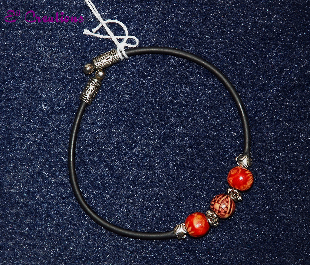 7241c6141562 Bracelet ¤ Pulsera (E³ Creations) Tags  wood silver beads claire madera  craft bijoux