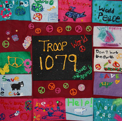 "By Girl Scout Brownie Troop 1079 from Versailles, KY  Title - ""Give Peace a Chance-Girl Scout Troop 1079"" (International Fiber Collaborative, Inc.) Tags: art kids stars community space dream nasa explore health express reach breastcancer global discover saturnvrocket internationalfibercollaborative thedreamrocket"
