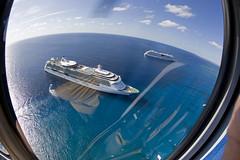 Jewel of the Seas (blueheronco) Tags: tour aerialview helicopter cruiseship caymanislands grandcayman caribbeansea fisheyelense jeweloftheseas aidaluna caymanislandshelicopters