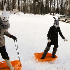 Goin' sleddin', yo-ho-ho! (Shhhhh...) Tags: winter ladies friends portrait snow self michigan masks rabbits sleds