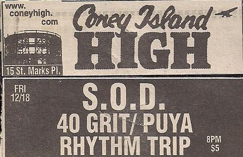 12/18/98 S.O.D./40 Grit/Puya/Rhythm Trip @ Coney Island High, NYC, NY (Ad)