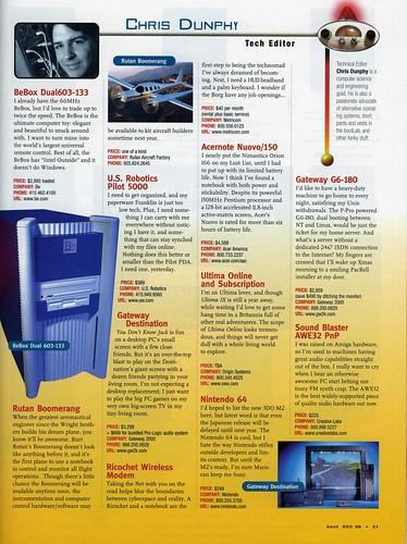 boot Magazine - Lust List - 1996