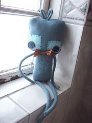 young mister bot (tareami) Tags: cute love nerd toy robot stuffed soft geek handmade buttons bowtie felt plush bow kawaii plushie ribbon fleece cogs gears geekery stuffie feltie lovebots