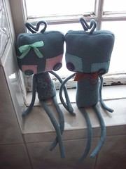 holdin' hands (tareami) Tags: cute love nerd toy robot stuffed soft geek handmade buttons bowtie felt plush bow kawaii plushie ribbon fleece cogs gears geekery stuffie feltie