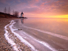 MERRY CHRISTMAS! ~ Gothic Chapel on  Liptovska Mara in the Morning Light ~ Liptov, Slovakia (Martin Sojka .. www.VisualEscap.es) Tags: morning blue winter sky orange lake snow reflection ice church nature colors sunrise landscape golden frozen tripod gothic vivid chapel olympus filter lee slovensko slovakia grad zuiko gitzo e30 liptov 918 zd liptovskamara 918mm