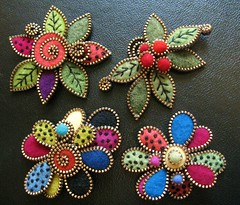 Some new multi layered leaf and tear drop brooches... (woolly  fabulous) Tags: red white green wool leaves pin handmade felt zipper swirl embroidered brooches ecofriendly