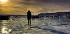 the silhouette standing on ice (explored) (stephane (montreal)) Tags: winter snow beach hiver cartier qubec neige sihouette jacques plage stphane paquet saintefoy