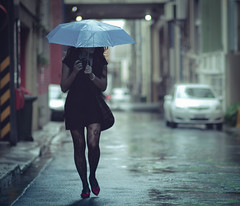 . (joannablu kitchener) Tags: street stockings rain umbrella nikon shoes australia brisbane rainy nikkor collaboration d90 dylank joannablu