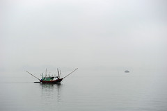 Fishing (The smiling monkey) Tags: mist misty fog bay boat fishing asia atmosphere vietnam nebbia along halong misterious baie dalong mistrieux