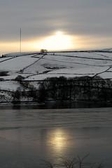 Holme Moss from Digley Reservoir, Holmfirth, Yorkshire, UK (richbd) Tags: christmas xmas uk winter light sky sun snow reflection yorkshire mast holmfirth 2010 holmemoss holme digleyreservoir flickrchallengegroup