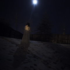 Follow these tracks (Eilidh McM) Tags: longexposure trees wedding moon selfportrait snow church night fence dark stars shadows moonlit moonlight weddingdress