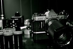 vintage film canon. w/flash (little miss divinity) Tags: canon 1 blackwhite nikon ae1 ae