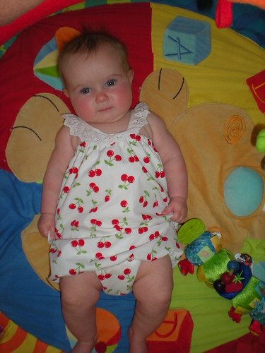 gracie in her cherry bubble dress