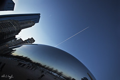 Wild Blue Yonder (rjseg1) Tags: park sculpture chicago contrail jet bean millennium cloudgate kapoor anish segal rjseg1