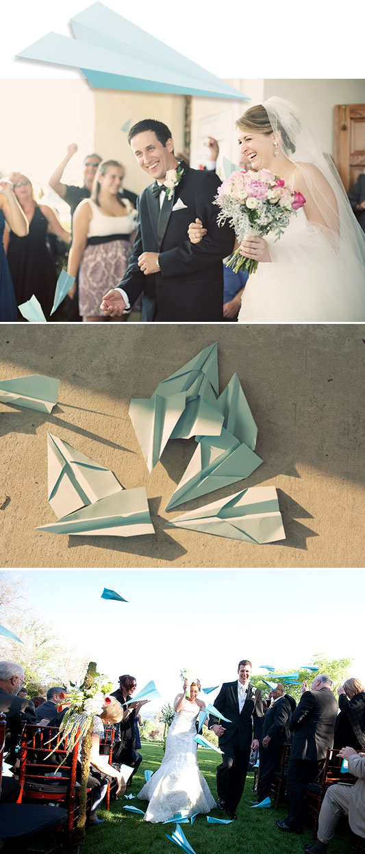 paper plane toss We love this idea for the wedding toss rather than rice