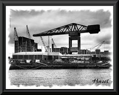 Devonport Dockyard (**Hazel**) Tags: white black psp crane plymouth devonport dockyard photoscape