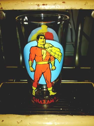 Shazam! Pepsi glass, 1970s.