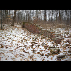 IMG_2180 (damian5d) Tags: trees winter snow ontario cold wall forest 35mm woodland bricks ruin stitched cawthraestate