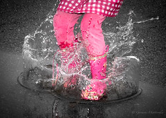 6.1.11 - Splash! (gm 74) Tags: pink cloud canada reflection feet rain playground kids clouds puddle boot bc cloudy outdoor ripple richmond 365 concept splash 2011 project365 6365 ef24105mmf4lisusm 3652011