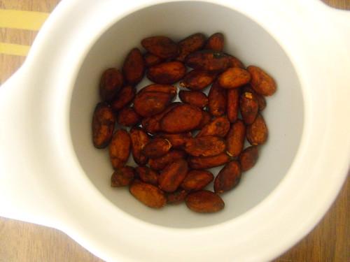 Granos de cacao tostados