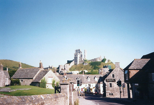 Corfe Castle View from Village - Copyright R.Weal 1998