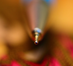 The business end of the ballpoint (Rajiv Lather) Tags: camera macro colors pen ink canon photo focus image bokeh business tip photograph newdelhi brilliance ballpoint macrophotography dwarka