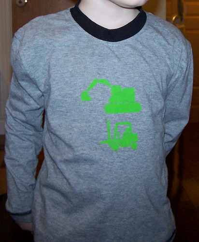 Stenciled Boy T-Shirt with Machines