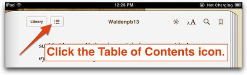 Table of Contents icon in iBooks