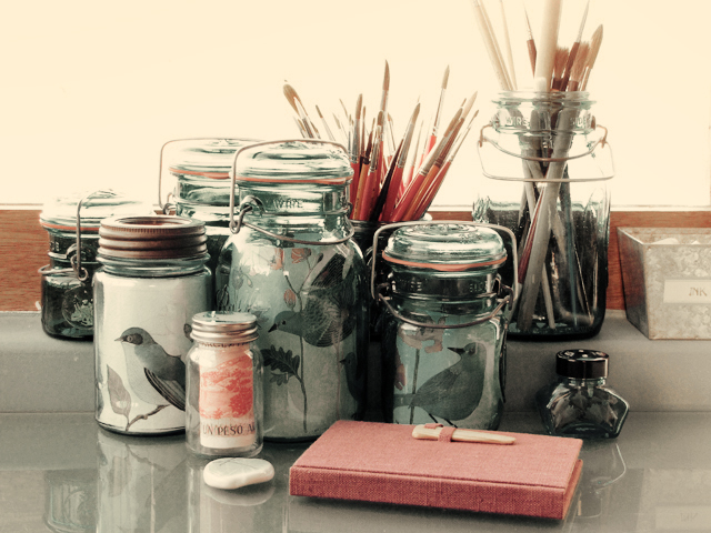 Jars as picture frames