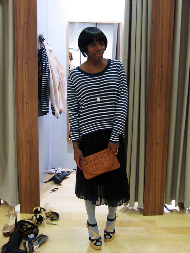 next striped jumper with black maxi skirt