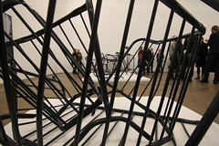Bettina Pousttchi: World Time Clock (VernissageTV Didier Didier) Tags: sculpture white black art photography artist contemporaryart kunst basel exhibition opening vernissage barriers vernissagetv kunsthallebasel bettinapousttchi