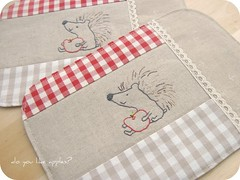 coasters (a n a ) Tags: red cute apple shop natural sweet linen lace embroidery sewing gingham hedgehog etsy coasters