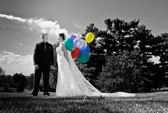bride & groom with colorful balloons (laughlinc) Tags: wedding balloons groom bride blackwhite couple wideangle selectivecolor nikond80 thechallengefactory laughlinc