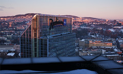 Oslo Plaza Hotel without Fog (trondjs) Tags: plaza roof winter sunset rooftop oslo norway canon landscape 50mm hotel evening raw cityscape sigma highrise 5d birdseyeview overview highrisebuilding osloplaza 2011 trondjs radissonbluhotelplaza sigma50th