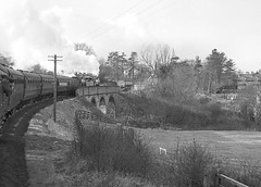 Crossing Scalby viaduct. 3442 & 62005. 6 March 1965 (ricsrailpics) Tags: uk yorkshire viaduct railways 1965 defunct scalby coastalroute scarboroughwhitby